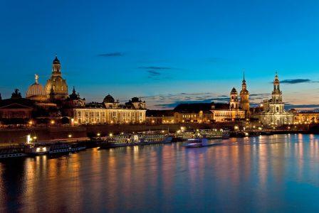 Elbe River at night, saxony